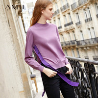 Amii Minimalist Knit Sweater Spring 2019 Causal Solid Long Sleeve Side Slit Ribbons O Neck Loose Female Pullover Sweater