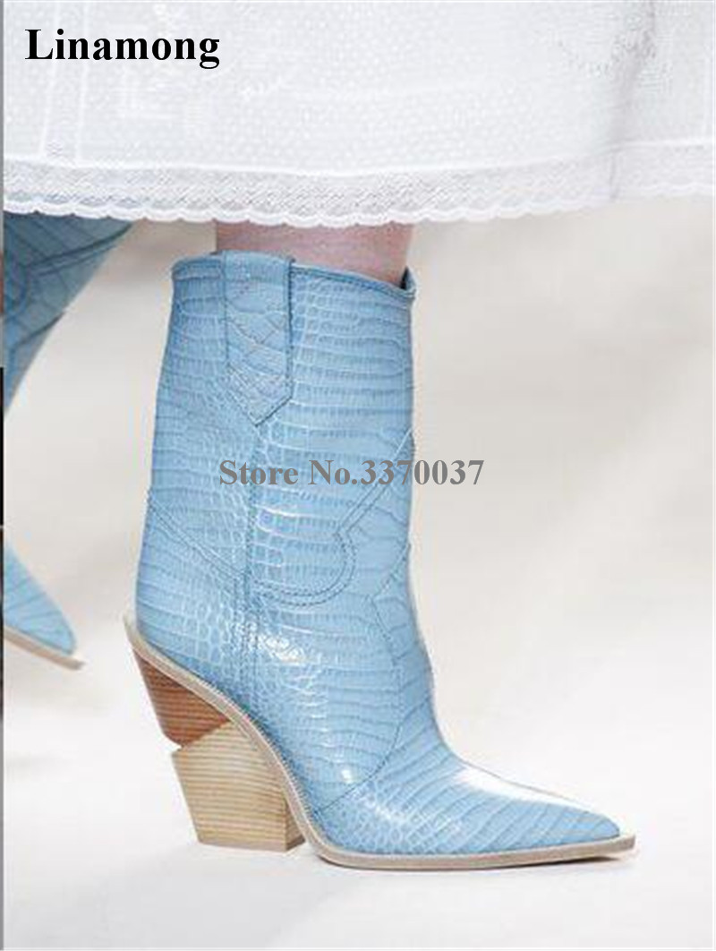 New Fashion Women Pointed Toe Pointed Toe Leather Spike Short Boots Slip-on Pattern Leather Pink Blue Ankle Booties Dress ShoesNew Fashion Women Pointed Toe Pointed Toe Leather Spike Short Boots Slip-on Pattern Leather Pink Blue Ankle Booties Dress Shoes