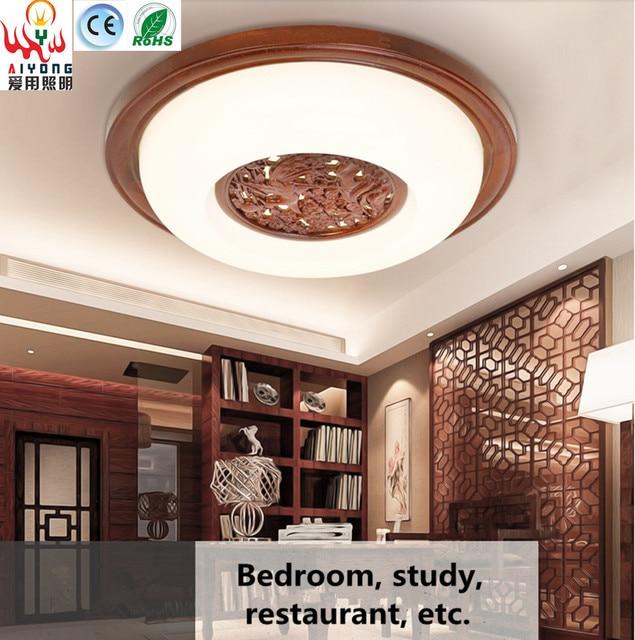 Clásica china redonda tallada lámpara de madera lámparas de techo ...