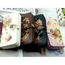 1Pc New Women Retro Long Flower Purse Wallet Mobile Phone Bag Buckle Handbag