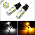 (2) 21-SMD White/Amber Dual-Color Chipset 7443 7444 7444NA T20 Switchback LED Bulbs For Car Front Turn Signal Light Replacement