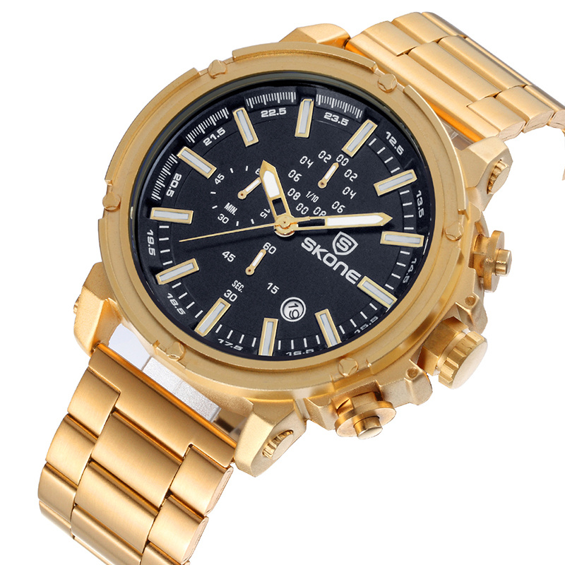 SKONE NEW Design Gold Black Watches Men Luxury Brand Chronograph Calendar Quartz Watch Business Male Clock WristwatchSKONE NEW Design Gold Black Watches Men Luxury Brand Chronograph Calendar Quartz Watch Business Male Clock Wristwatch
