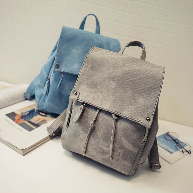 Fashion PU Leather Soft Backpack Women Bags Preppy Style Backpack Girls School Bags Zipper Shoulder Womens Back Pack