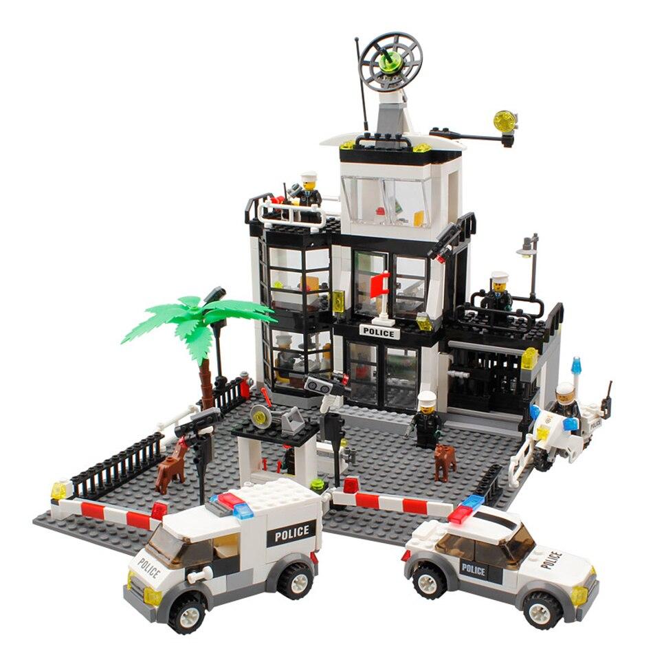 631pcs City Building Blocks DIY Police Station Prison Figures Enlighten Bricks Blocks Toy For Kids Compatible Legoed City Toys