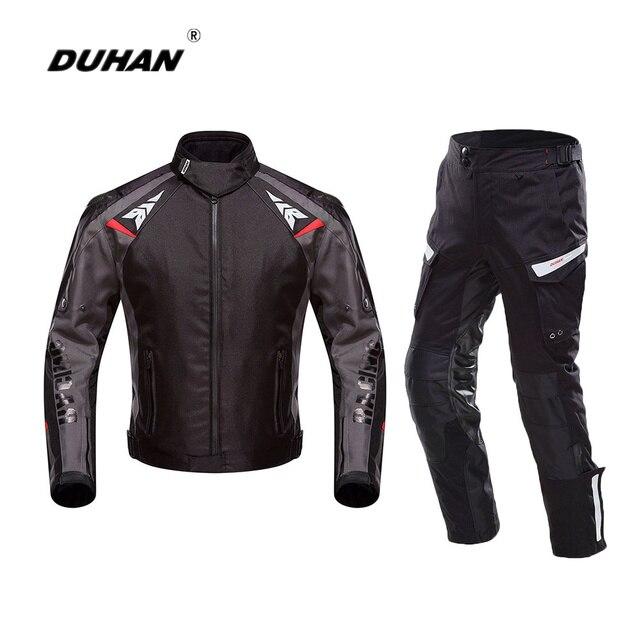 DUHAN Motorcycle Jacket Men Oxford Waterproof Motorcycle Protection Racing Jacket Pants BlackMotorcycle Automobile Jacket Suit