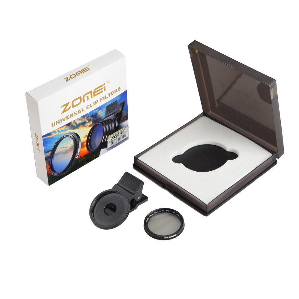ZOMEi 37MM CPL Lens Filter Professional Cell Phone Camera Filter for iPhone cellphone universal filter + clip