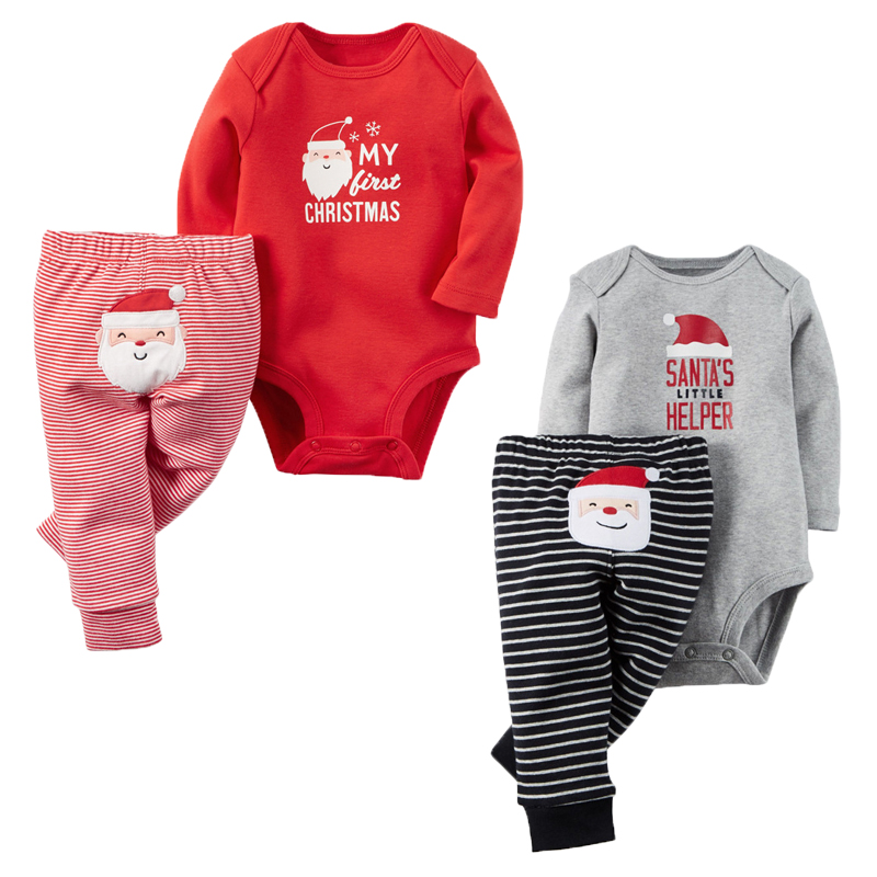 2Pcs Baby Girl Clothes Christmas Baby Boy Clothing Set Autumn Baby Rompers 2017 Newborn Baby Clothes Roupas Bebe Infant Clothes 9 12m baby boy set monkey print clothes for children newborn baby boy clothing corduroy 2017 autumn clothes 2pcs boy outwears