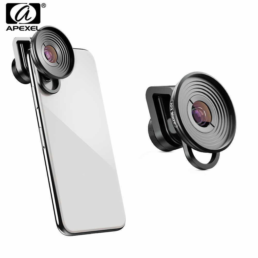 APEXEL 10X Macro Camcorder Lens Mobile Phone Camera Super Macro Lenses For iPhone xs max Samsung s10 Xiaomi 9 Redmi Note 7 pro