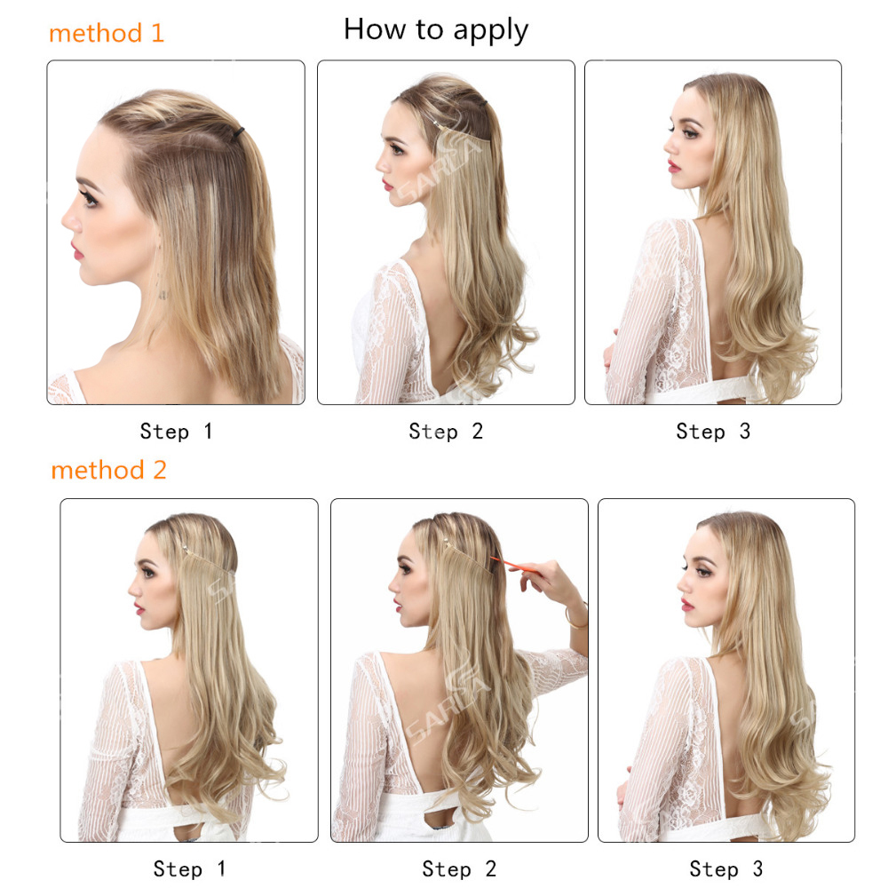 """12""""14"""" 16"""" 18"""" Wave Halo Hair Extensions Invisible Ombre Bayalage Synthetic Natural Flip Hidden Secret Wire Crown Hair Piece 6"""