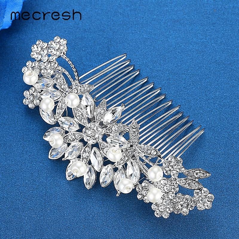 Mecresh Kryształowe ślubne akcesoria do włosów dla kobiet Srebrny - Modna biżuteria - Zdjęcie 5