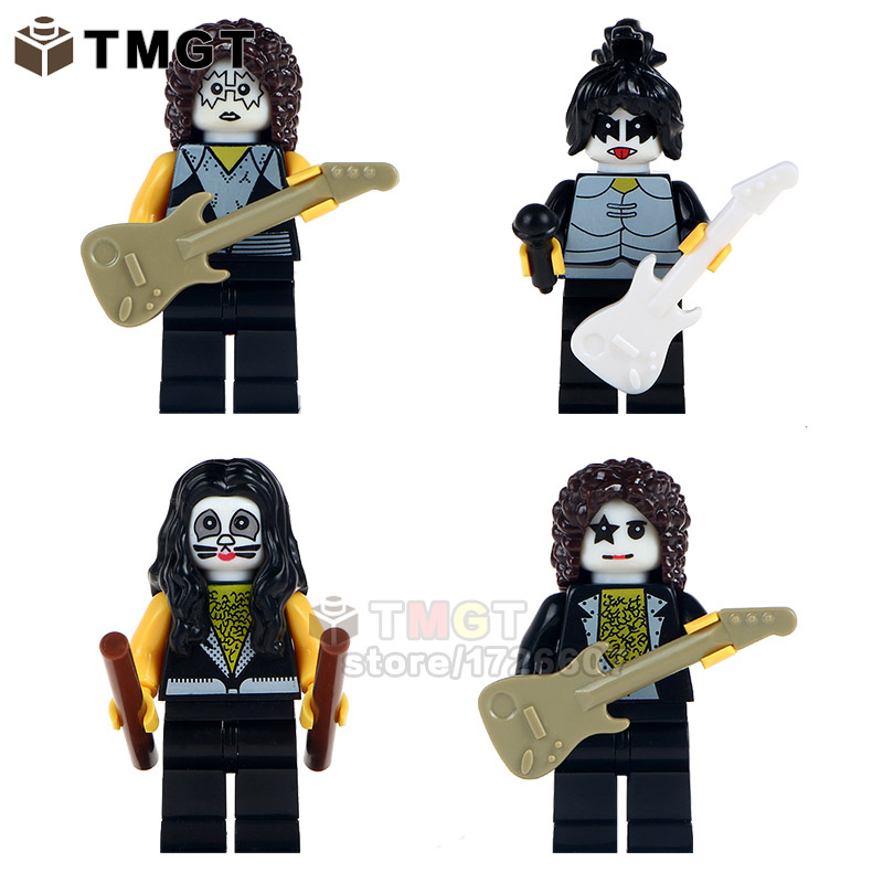 Ambitious 4pcs/set Legoings Hard Rock Band Kiss Tommy Thayer Paul Stanley Eric Singer Gene Simmons Figure Building Block Toys Gifts Wm6022 Toys & Hobbies