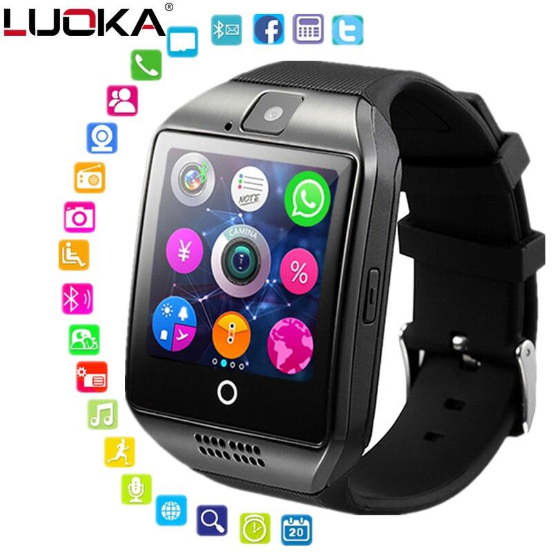 Reloj inteligente reloj Q18 SmartWatch apoyo Sim tarjeta del TF llamada Push mensaje Cámara conectividad Bluetooth para Android IOS teléfono