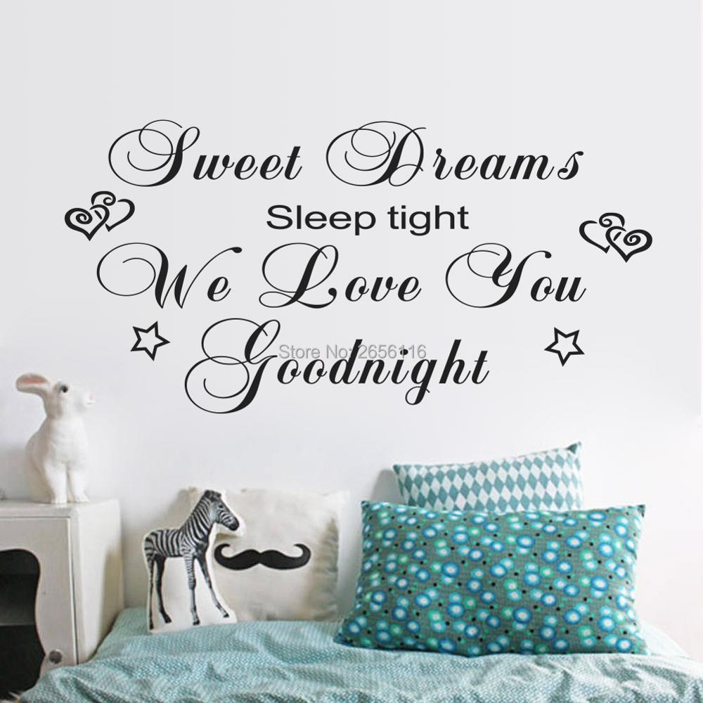 336 20 De Réductioncitations Damour Doux Rêves Dormir Serré Nous Vous Aimons Bonne Nuit Sticker Mural Pour Salon Enfants Chambre Pépinière