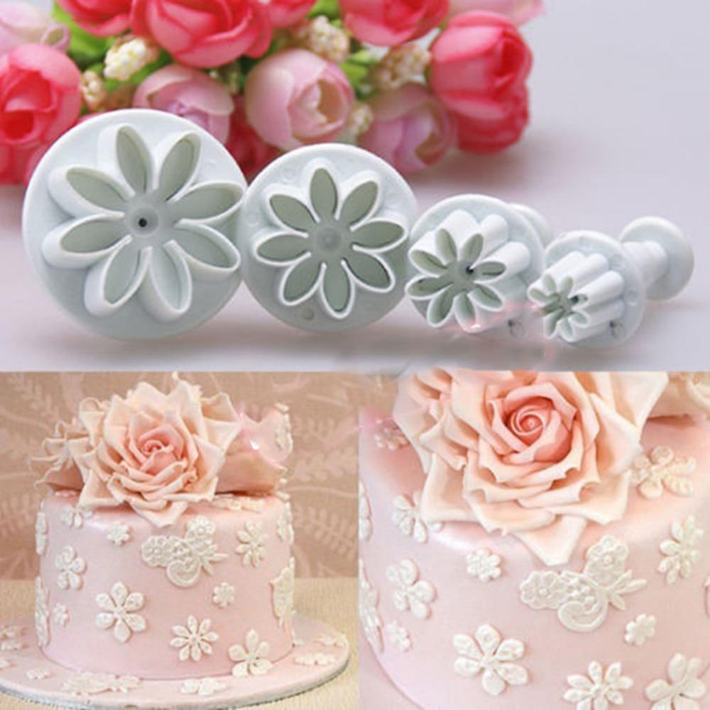 4 Pcs Plastic Plunger Embossed Mold Flower Daisy Fondant Cake Decor