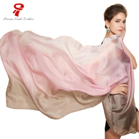Scarf 100 Natural Silk Long Scarf Summer Female Shawl Women Luxury Brand Gradient Color Wraps Plus