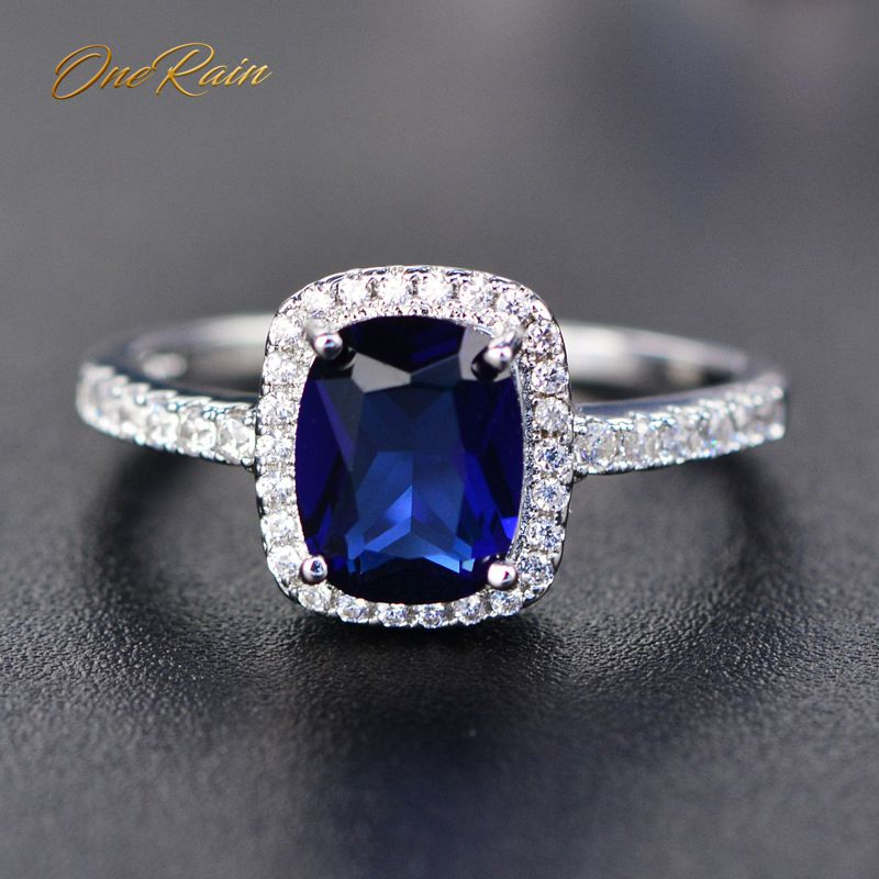 OneRain Simple 100% 925 Sterling Silver Blue Sapphire Gemstone White Gold Ring Diamond Band Fine Jewelry Wholesale Size 5-11