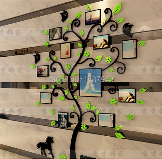 Nueva acrílico pegatinas de pared árbol 3D cristal marco para pared ...