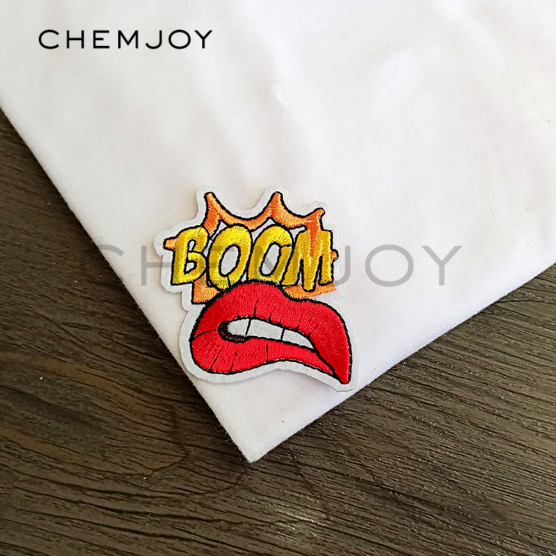 Cool letter patch red lips boom embroidery applique ironing on band patches cloth stickers badges for clothing in patches from home garden on