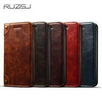 RUZSJ Luxury Flip Leather Case For IPhone 6 7 8 Plus Case High Quality Leather Wallet