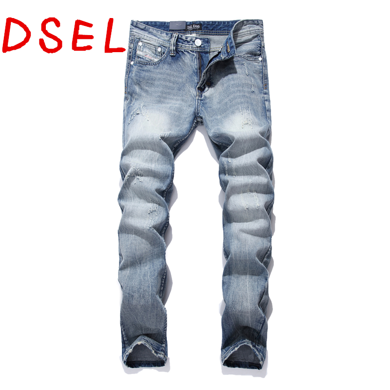 Nostalgia Retro Printed Jeans Men Slim Casual Pants Thin Elastic Mens Jeans Sky Blue Quality Cotton Denim Brand Jeans For Men D9