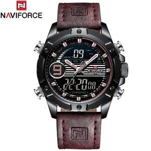 Image 5 - NAVIFORCE Luxury Brand Mens Sport Watches Men Quartz LED Digital Clock Male Military Waterproof Leather Watch Relogio Masculino