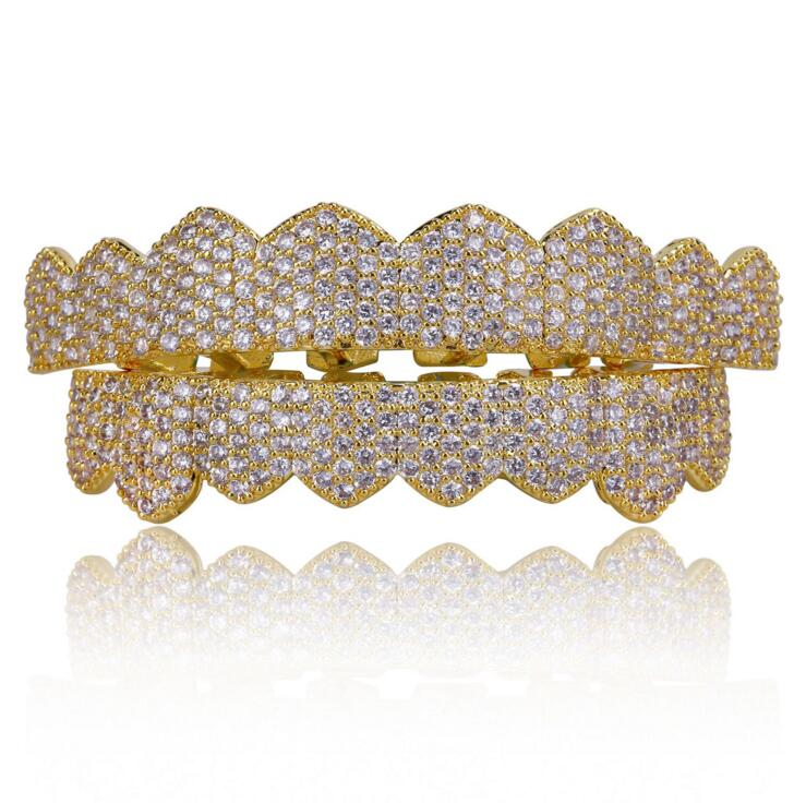 micro pave cz hip hop bling jewelry Gold color Teeth GRILLZ Top Bottom Tooth Caps Grill Set Hip Hop Bling Jewelry цены