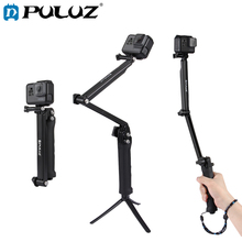 PULUZ 3-Way Grip For GoPro HERO6/5 Foldable Multi-functional Selfie-stick For Go Pro Hero4 Extension Monopod+Tripod стабилизатор изображения gopro karma grip agimb 004