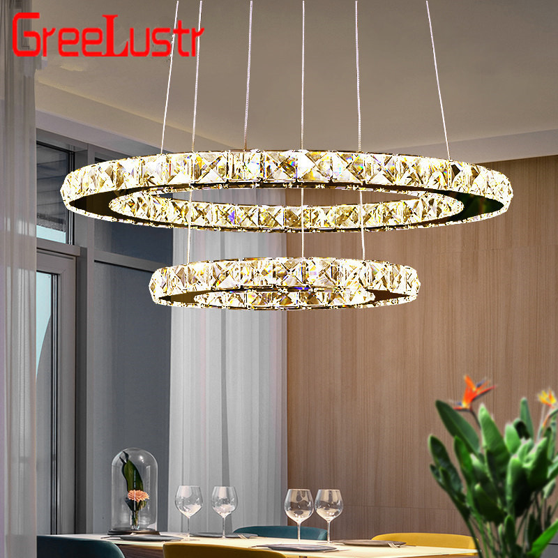 2 Rins Modern LED Crystal Chandeliers Pendant Lamp Stainless Steel Round Hanging Lamp Luminaire Led Lighting Fixtures