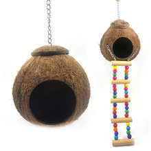 Wood Climbing Ladder Grinded Coconut Shell Pet Bird Toy Macaw Cockatiel Parrot Hamster Climb Bell Swing Bite Toy Pet Product(China)