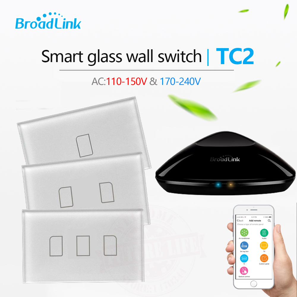 2017 Broadlink TC2 US / AU Standard Smart Home RF Touch Lichtschalter 123Gang 110 V 220 V Fernbedienung Wand Touch Switch Panel