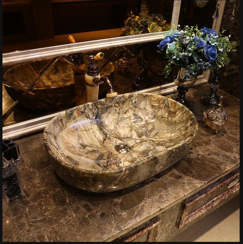 imitation stone Oval shape Porcelain wash basin sink ceramic basin sink Counter Top Wash Basin bathroom ceramic art porcelain sink (1)
