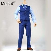 Mnotht 1/6 Scale Male Soldier Blue Suit Set Batman Suit 12in Male Body Shirt Pants Tie Shoes Model Clothes Accessories Toys m