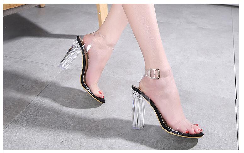 HTB1Iy8goTTI8KJjSsphq6AFppXaM Aneikeh 2020 PVC Jelly Sandals Crystal Open Toed High Heels Women Transparent Heel Sandals Slippers Pumps 11CM Big Size 41 42