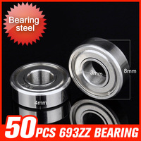 50pcs 693ZZ Bearing 8x3x4mm Seal Cover Ring Bearings For Machinery Manufacturing Industrial Production Hardware Tool Kit
