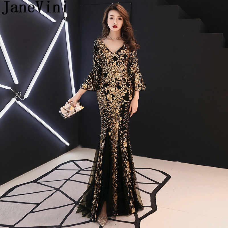 Vestido de noche Formal de lentejuelas de oro de JaneVini con mangas de sirena negra árabe Novias Vestidos de madre para vestido de fiesta de bodas
