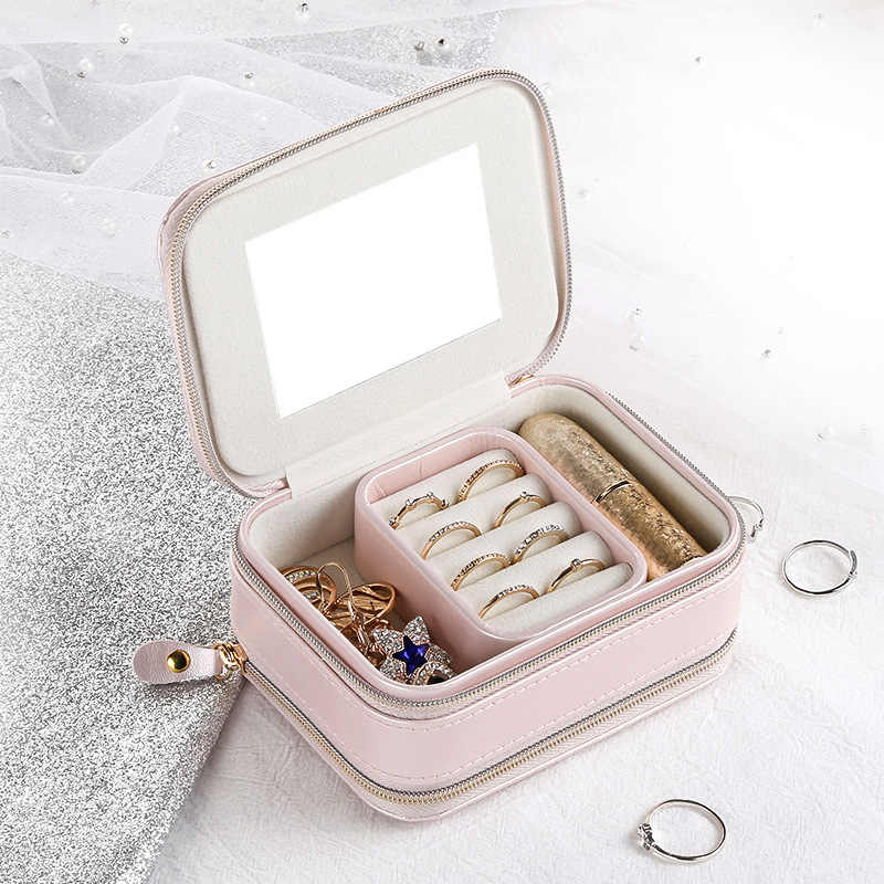 Jewelry Casket Cosmetic Storage Box Makeup Packing Organizer Multi-function Earrings Ring Container Case Portable Leather