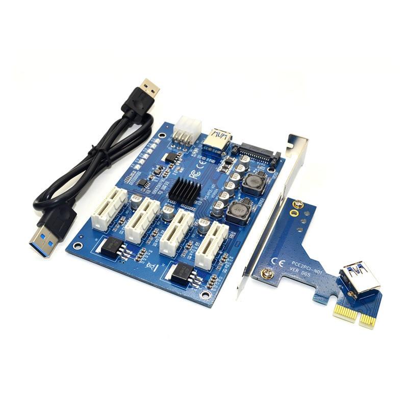 PCI-E X1 To 4PCI-E X16 Expansion Kit 1 To 4 Port PCI Express Switch Multiplier HUB 6pin Sata USB Riser Card For BTC Miner Mining