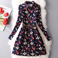 Autumn Winter 2016 New Fashion Long Sleeve Vintage Printed Slim  Women Dress Turn-Down Collar A-Line  Casual Dresses Vestidos