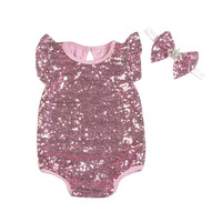 Sequin Baby Rompers Princess Girls Summer Clothing Set Kids Jumpsuit Headbands Toddler Girl Wear Costume