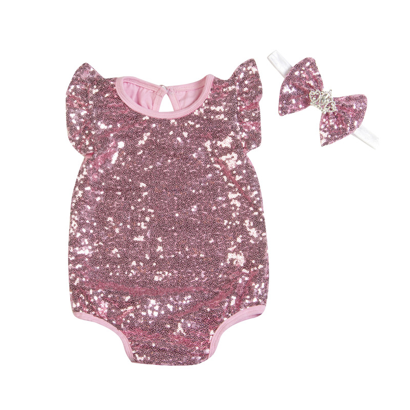 Sequin Baby Rompers Princess Girls Summer Clothing Set Kids Jumpsuit + Headbands Toddler Girl Wear Costume