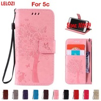 LELOZI Tree Leaf Cat Butterfly PU Leather Filp Wallet Walet Case Capa Bag For IPhone 5c