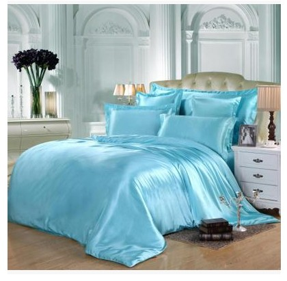 Aqua Silk Bedding Set Green Blue Satin Super King Size Queen Full Twin Fitted  Bed Sheets