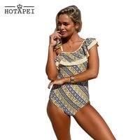 Hotapei 2017 Stripes Ruffle One Piece Swimsuit Women Sexy One Shoulder Off Bodysuit Summer Beach Bathing