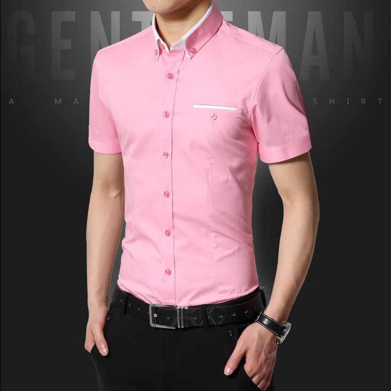 新到着夏カジュアルシャツ男性良質メンズドレスシャツ固体スリムフィット半袖男性服 2019 プラスサイズ 5XL