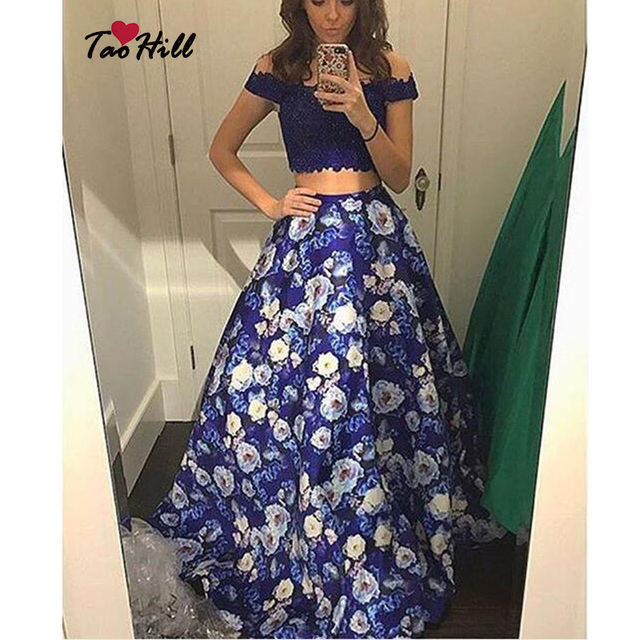 fd11dc5f19 Tao Hill 2 Piece Prom Dresses Dark Blue Flowers Dresses A-line Off the  Shoulder Lace Applique Beads Elegant Formal Evening ED130