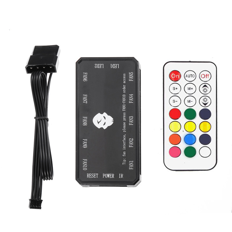 Remote RGB LED Light Multi Color 16 Key Computer Case Remote Control Fan Controller RF Radio Frequency Inserted 8 Fans