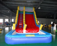 Customized commercial inflatable carve wave slide wet pool slide inflatable slip slide with pool