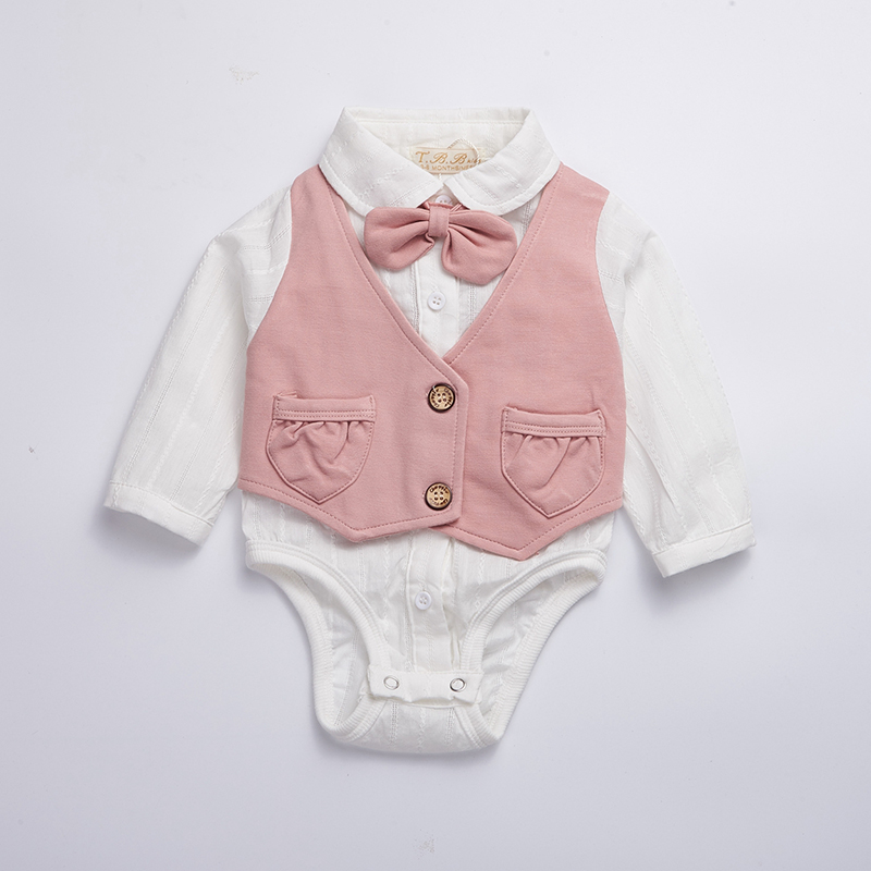 Baby clothes 2018 spring baby girl bodysuit cotton Newborn Jumpersuit full sleeve tollder clothing pink baby shirt with bow