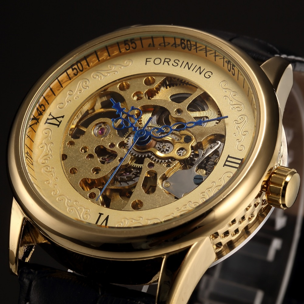 Forsining Luxury Brand Men Skeleton Mechanical Watches Leather Band Automatic Wristwatch Unique Design Hollow Engraving Clock forsining brand trendy automatic mechanical watches men skeleton dial stylish dress wristwatches with leather band
