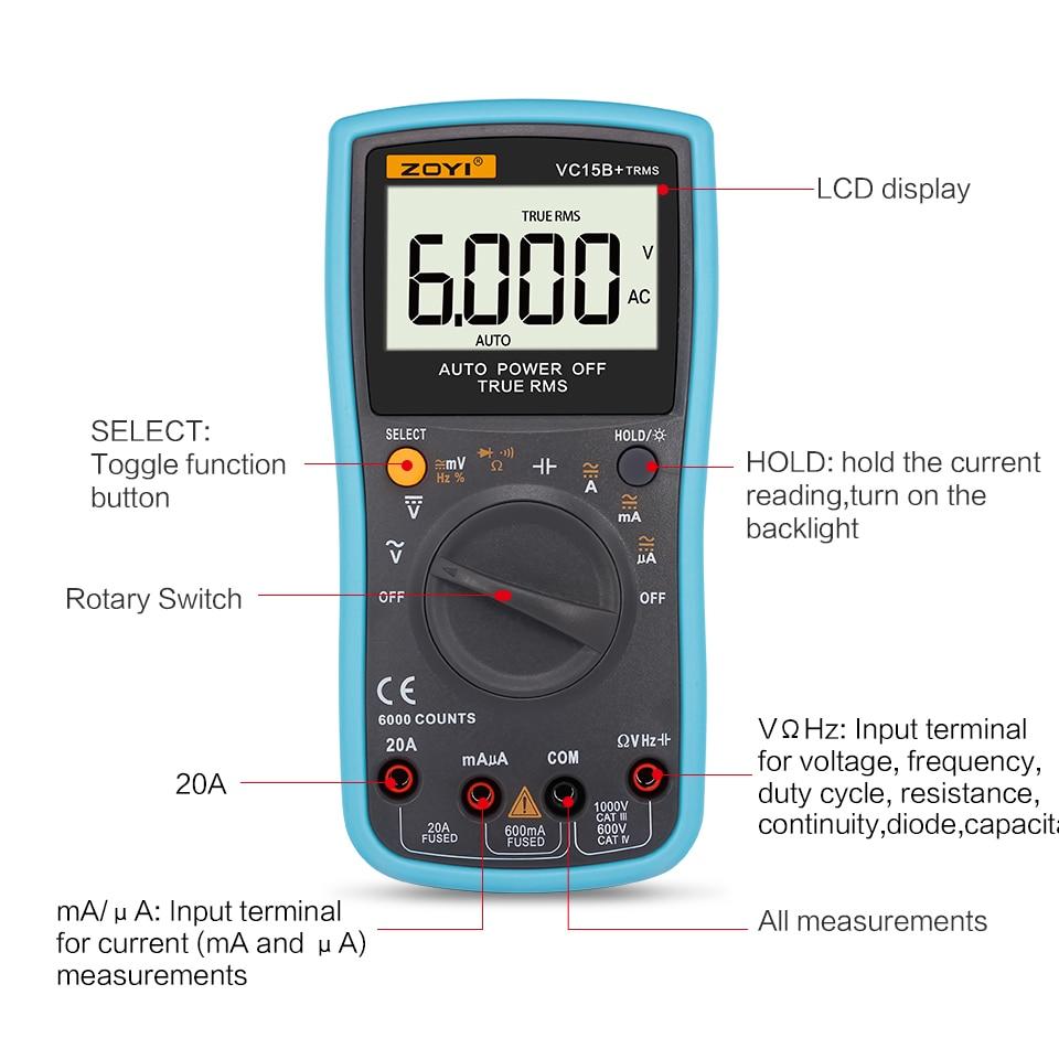 Auto Range LCD Digital Multimeter 6000 Counts RMS AC DC Voltmeter Temperature Ammeter Resistance Capacitance Meter Tester portable lcd digital multimeter ac dc current ohm voltmeter temperature auto range ammeter 6000 counts backlight